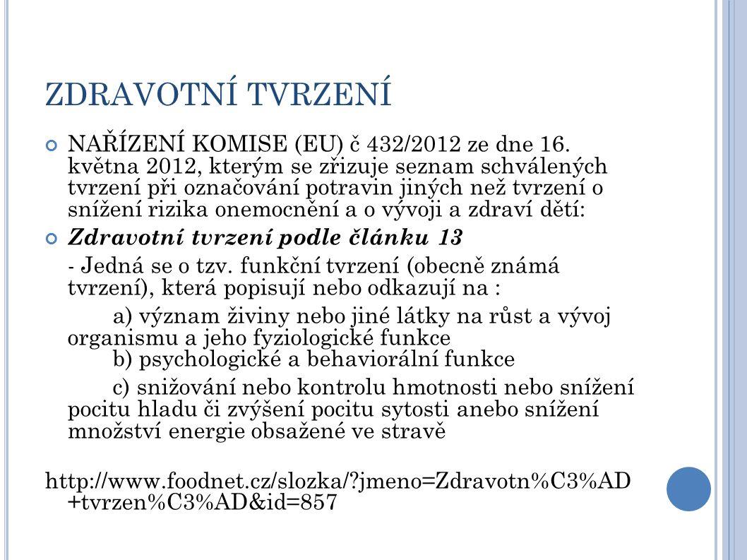 ZDRAVOTNÍ TVRZENÍ NAŘÍZENÍ KOMISE (EU) č 432/2012 ze dne 16.
