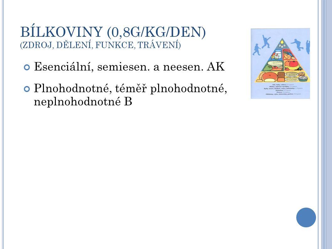 BÍLKOVINY = ŘETĚZCE AMINOKYSELIN AK - esenciální (leucin, isoleucin, valin, lysin, methionin, fenylalanin, tryptofan, threonin) - semiesenciální (histidin,...alanin, glutamin) - neesenciální Zdroje bílkovin (živočišné: maso, mléko, vejce, rostlinné: obiloviny, luštěniny,...) Hodnotnost bílkovin - plnohodnotné: obsahují všechny esenciální AK (např.