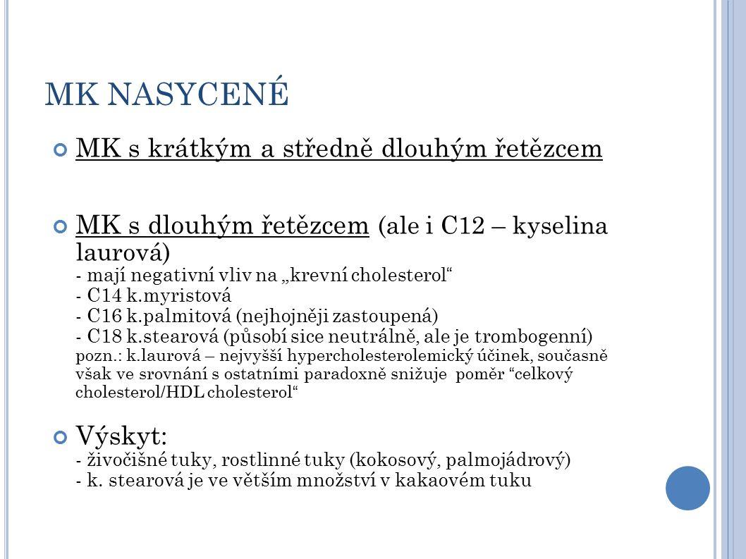 """MK NASYCENÉ MK s krátkým a středně dlouhým řetězcem MK s dlouhým řetězcem (ale i C12 – kyselina laurová) - mají negativní vliv na """"krevní cholesterol - C14 k.myristová - C16 k.palmitová (nejhojněji zastoupená) - C18 k.stearová (působí sice neutrálně, ale je trombogenní) pozn.: k.laurová – nejvyšší hypercholesterolemický účinek, současně však ve srovnání s ostatními paradoxně snižuje poměr celkový cholesterol/HDL cholesterol Výskyt: - živočišné tuky, rostlinné tuky (kokosový, palmojádrový) - k."""