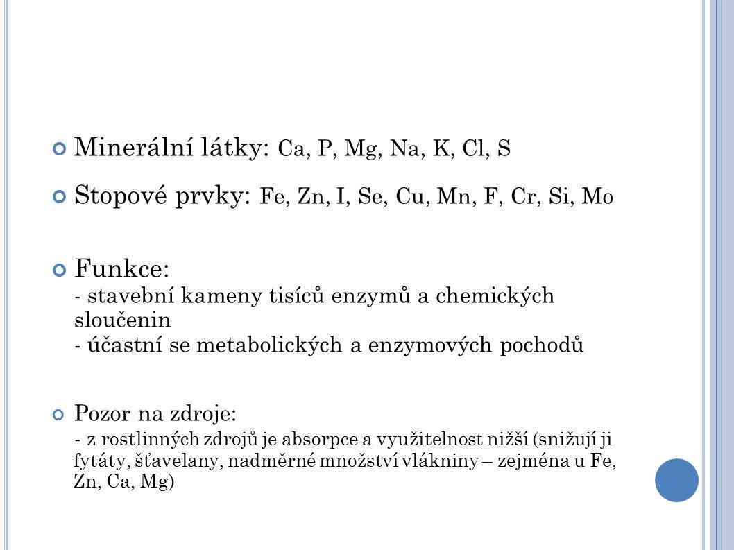 Minerální látky: Ca, P, Mg, Na, K, Cl, S Stopové prvky: Fe, Zn, I, Se, Cu, Mn, F, Cr, Si, Mo Funkce: - stavební kameny tisíců enzymů a chemických sloučenin - účastní se metabolických a enzymových pochodů Pozor na zdroje: - z rostlinných zdrojů je absorpce a využitelnost nižší (snižují ji fytáty, šťavelany, nadměrné množství vlákniny – zejména u Fe, Zn, Ca, Mg)