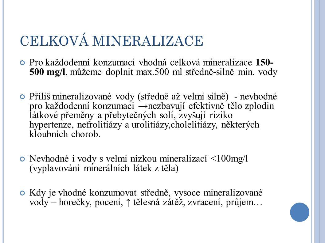 """Velmi slabě mineralizované vody se nehodí pro stálé pití kvůli riziku narušení minerálového i vodního metabolismu, může být vhodná jen pro některé krátkodobé dietní nebo léčebné kůry a pro ředění umělé kojenecké výživy na bázi kravského mléka Slabě mineralizované vody se hodí pro běžné pití, pokud nejsou uměle syceny oxidem uhličitým nebo pokud ho přirozeně neobsahují ve vyšším množství Středně mineralizované vody by měly být pouze doplňkem v nápojovém sortimentu, měly by se střídat a konzumované množství by nemělo v průměru přesáhnout 0,5 litru za den Silně mineralizované vody by se měly konzumovat jen výjimečně a v omezeném množství; pro děti jde vyloženě o nevhodný nápoj Velmi silně mineralizované vody by se měly používat jen jako lék pod dohledem lékaře Středně a silně mineralizované vody mohou být zajímavým (i když ne nezbytně nutným) chuťovým i """"potravním zpestřením pitného režimu, pokud jsou konzumovány v omezeném množství."""