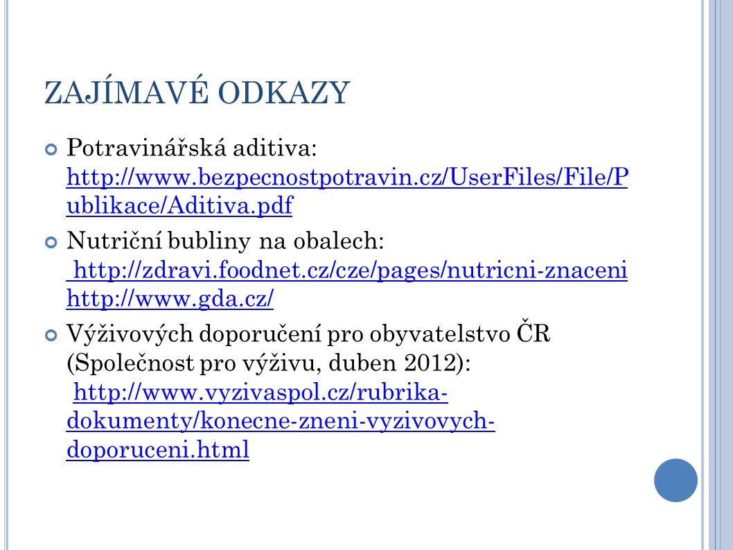 ZAJÍMAVÉ ODKAZY Potravinářská aditiva: http://www.bezpecnostpotravin.cz/UserFiles/File/P ublikace/Aditiva.pdf http://www.bezpecnostpotravin.cz/UserFiles/File/P ublikace/Aditiva.pdf Nutriční bubliny na obalech: http://zdravi.foodnet.cz/cze/pages/nutricni-znaceni http://www.gda.cz/ http://zdravi.foodnet.cz/cze/pages/nutricni-znaceni http://www.gda.cz/ Výživových doporučení pro obyvatelstvo ČR (Společnost pro výživu, duben 2012): http://www.vyzivaspol.cz/rubrika- dokumenty/konecne-zneni-vyzivovych- doporuceni.htmlhttp://www.vyzivaspol.cz/rubrika- dokumenty/konecne-zneni-vyzivovych- doporuceni.html