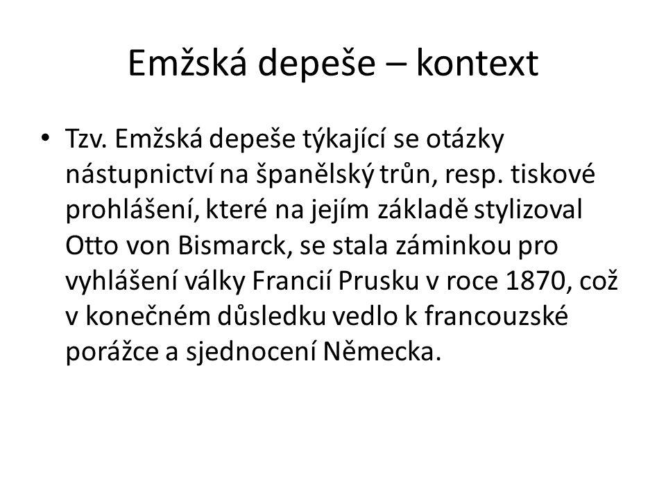 Emžská depeše - pokyny Žákům je nejprve předložen výchozí text telegramu s komentářem k obsahu.