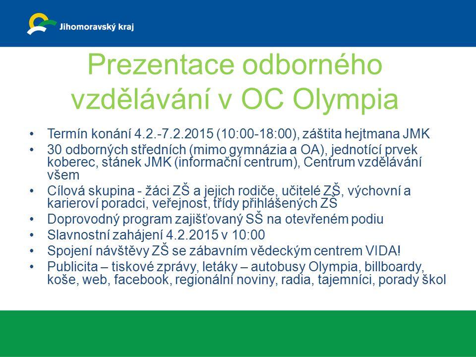 Prezentace odborného vzdělávání v OC Olympia Termín konání 4.2.-7.2.2015 (10:00-18:00), záštita hejtmana JMK 30 odborných středních (mimo gymnázia a OA), jednotící prvek koberec, stánek JMK (informační centrum), Centrum vzdělávání všem Cílová skupina - žáci ZŠ a jejich rodiče, učitelé ZŠ, výchovní a karieroví poradci, veřejnost, třídy přihlášených ZŠ Doprovodný program zajišťovaný SŠ na otevřeném podiu Slavnostní zahájení 4.2.2015 v 10:00 Spojení návštěvy ZŠ se zábavním vědeckým centrem VIDA.