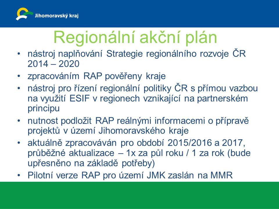 Regionální akční plán nástroj naplňování Strategie regionálního rozvoje ČR 2014 – 2020 zpracováním RAP pověřeny kraje nástroj pro řízení regionální politiky ČR s přímou vazbou na využití ESIF v regionech vznikající na partnerském principu nutnost podložit RAP reálnými informacemi o přípravě projektů v území Jihomoravského kraje aktuálně zpracováván pro období 2015/2016 a 2017, průběžné aktualizace – 1x za půl roku / 1 za rok (bude upřesněno na základě potřeby) Pilotní verze RAP pro území JMK zaslán na MMR