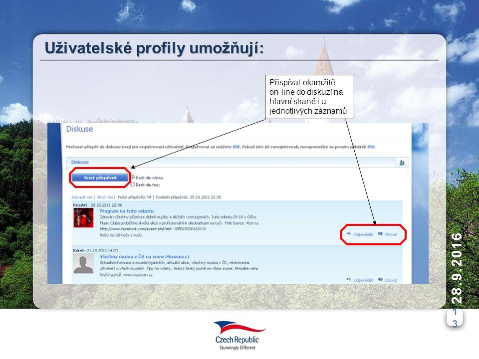 1313 28.9.2016 Uživatelské profily umožňují: Přispívat okamžitě on-line do diskuzí na hlavní straně i u jednotlivých záznamů