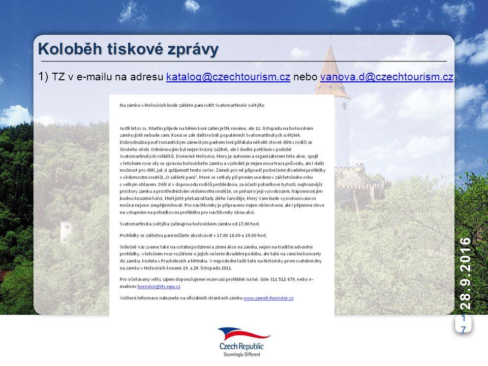 1717 28.9.2016 Koloběh tiskové zprávy 1) TZ v e-mailu na adresu katalog@czechtourism.cz nebo vanova.d@czechtourism.czkatalog@czechtourism.czvanova.d@czechtourism.cz