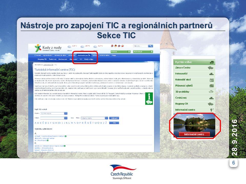6 28.9.2016 Nástroje pro zapojení TIC a regionálních partnerů Sekce TIC
