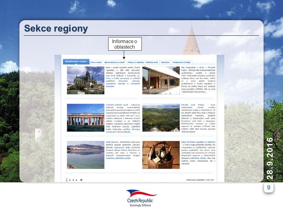 9 28.9.2016 Sekce regiony Informace o oblastech
