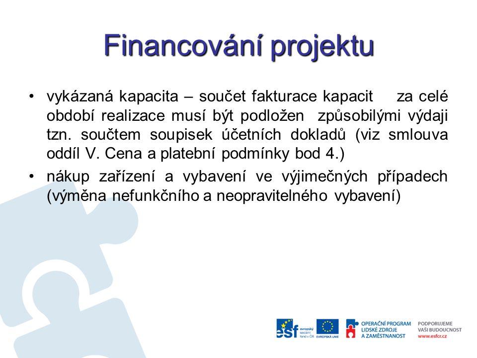 Financování projektu vykázaná kapacita – součet fakturace kapacit za celé období realizace musí být podložen způsobilými výdaji tzn.