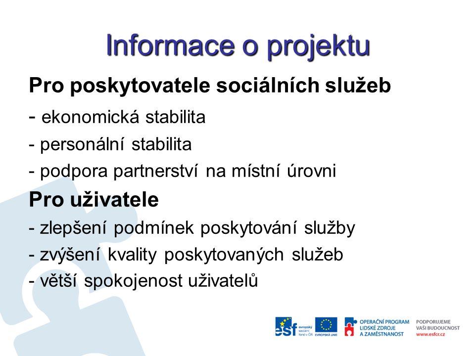 Informace o projektu Pro poskytovatele sociálních služeb - ekonomická stabilita - personální stabilita - podpora partnerství na místní úrovni Pro uživatele - zlepšení podmínek poskytování služby - zvýšení kvality poskytovaných služeb - větší spokojenost uživatelů