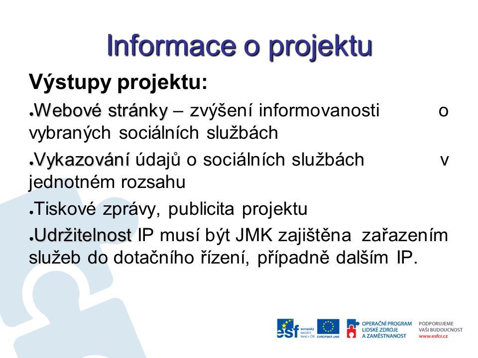 Informace o projektu Výstupy projektu: ● Webové stránky ● Webové stránky – zvýšení informovanosti o vybraných sociálních službách ● Vykazování ● Vykazování údajů o sociálních službách v jednotném rozsahu ● Tiskové zprávy, publicita projektu ● Udržitelnost ● Udržitelnost IP musí být JMK zajištěna zařazením služeb do dotačního řízení, případně dalším IP.