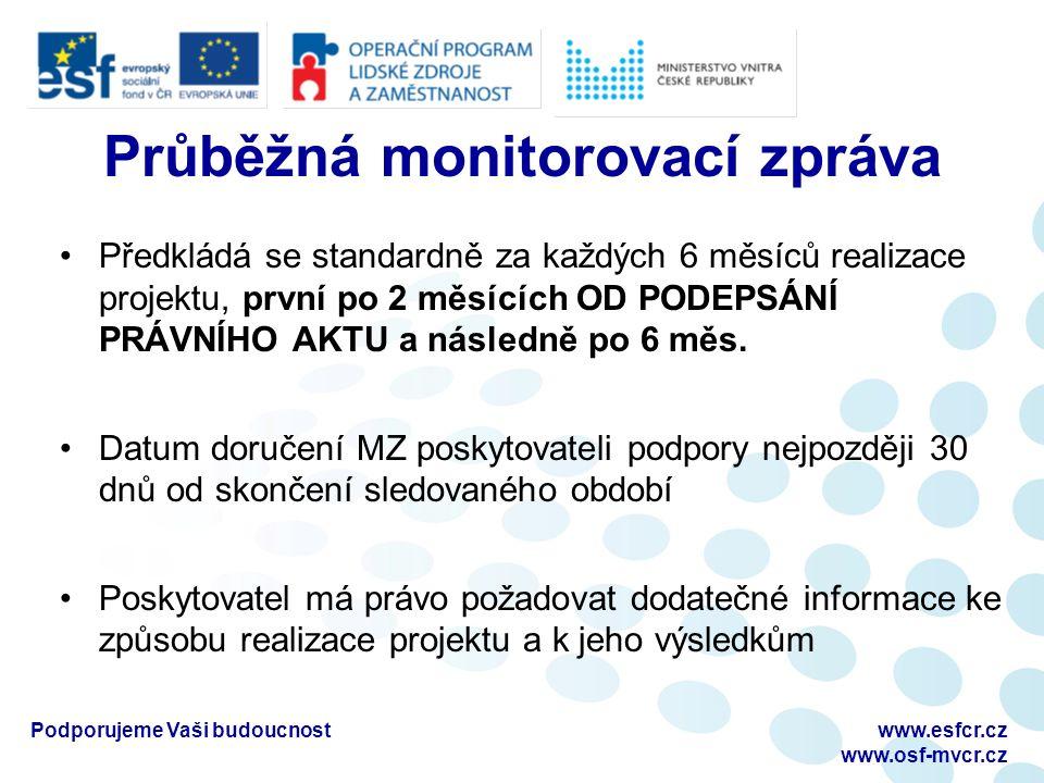 Průběžná monitorovací zpráva Předkládá se standardně za každých 6 měsíců realizace projektu, první po 2 měsících OD PODEPSÁNÍ PRÁVNÍHO AKTU a následně po 6 měs.