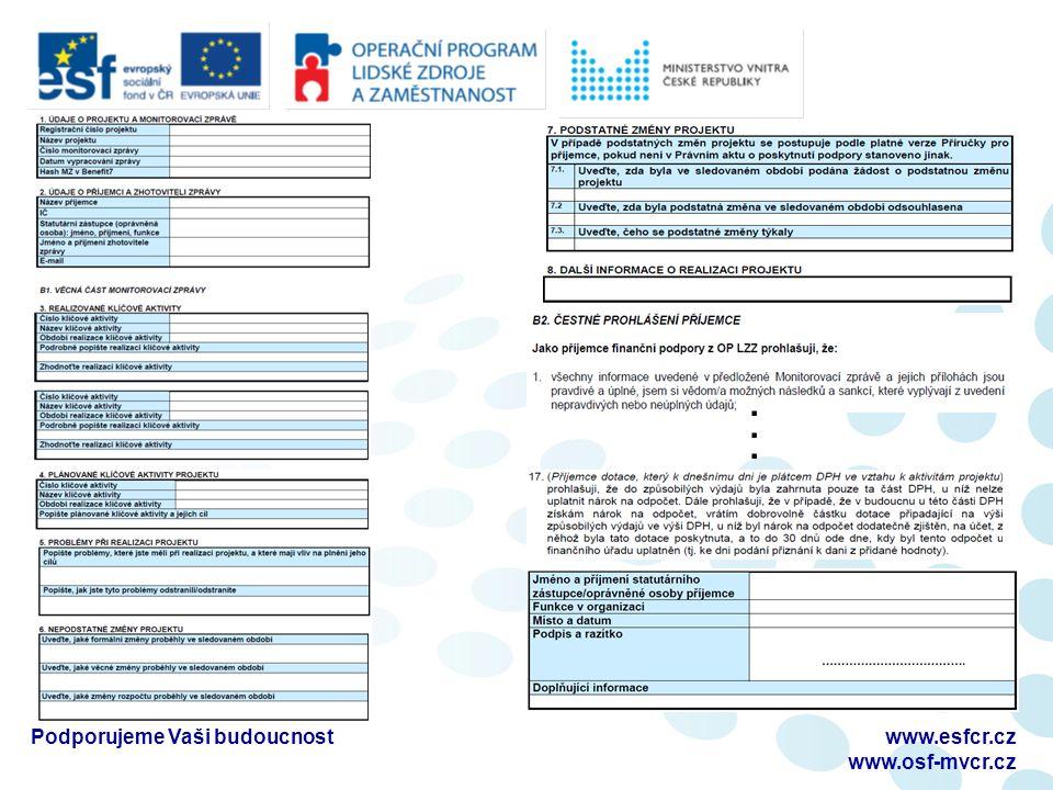 ...... Podporujeme Vaši budoucnostwww.esfcr.cz www.osf-mvcr.cz