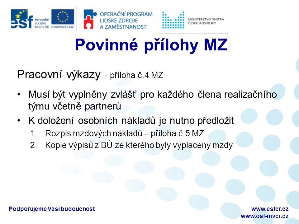 Povinné přílohy MZ Pracovní výkazy - příloha č.4 MZ Musí být vyplněny zvlášť pro každého člena realizačního týmu včetně partnerů K doložení osobních nákladů je nutno předložit 1.Rozpis mzdových nákladů – příloha č.5 MZ 2.Kopie výpisů z BÚ ze kterého byly vyplaceny mzdy Podporujeme Vaši budoucnostwww.esfcr.cz www.osf-mvcr.cz