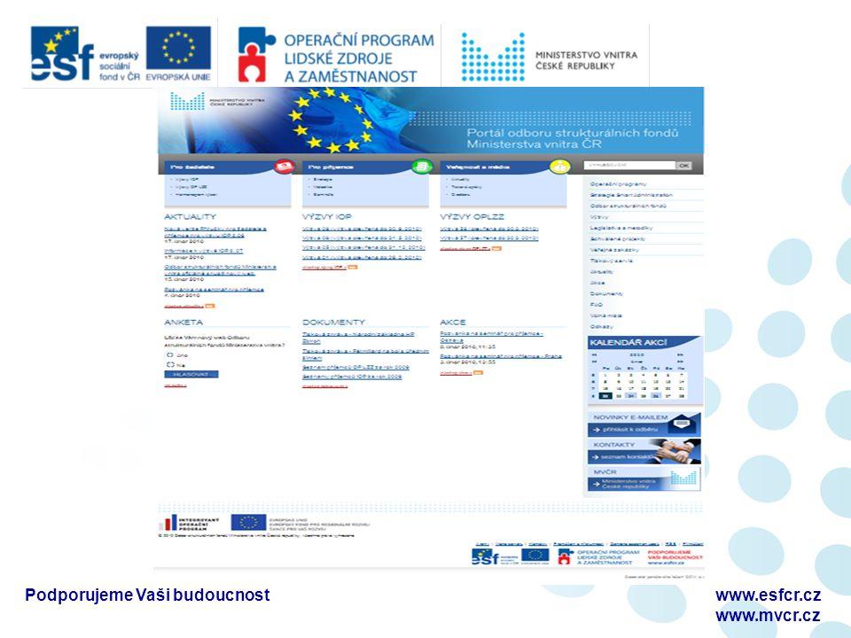 U možného zmaření účelu projektu lze kontrolu oznámit až na místě Povinnost umožnit vstup na místo realizace projektu včetně přístupu k veškeré projektové dokumentaci Pověřenými osobami mohou být pracovníci poskytovatele podpory, zmocnění zástupci ŘO a ZS, pracovníci NKÚ, pracovníci MF ČR, FÚ, zástupci EK nebo Evropského účetního dvora Podporujeme Vaši budoucnostwww.esfcr.cz www.osf-mvcr.cz Kontrola na místě
