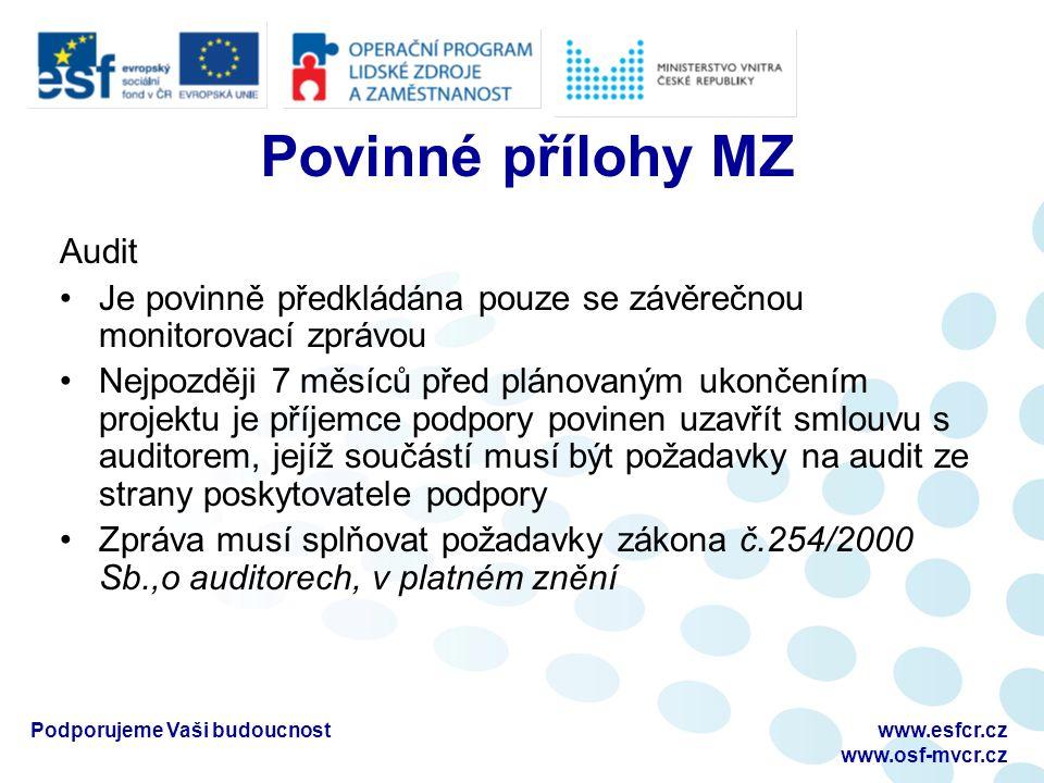 Povinné přílohy MZ Audit Je povinně předkládána pouze se závěrečnou monitorovací zprávou Nejpozději 7 měsíců před plánovaným ukončením projektu je příjemce podpory povinen uzavřít smlouvu s auditorem, jejíž součástí musí být požadavky na audit ze strany poskytovatele podpory Zpráva musí splňovat požadavky zákona č.254/2000 Sb.,o auditorech, v platném znění Podporujeme Vaši budoucnostwww.esfcr.cz www.osf-mvcr.cz