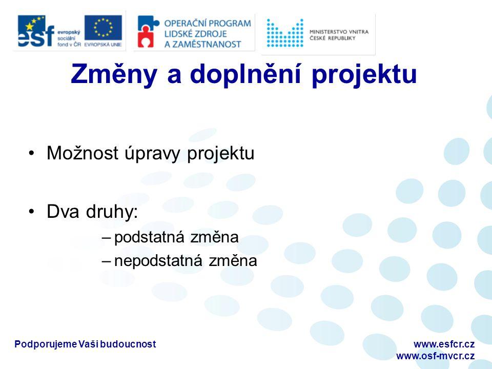 Mimořádná monitorovací zpráva Příjemce musí podat MMZ při vyčerpání 90% všech předchozích poskytnutých plateb Příjemce může zažádat při vyčerpání více jak 60% předchozích poskytnutých plateb Příjemce nejprve kontaktuje ZO (email) a domluví se na podání MMZ Na stejném formuláři jako PMZ Podporujeme Vaši budoucnostwww.esfcr.cz www.osf-mvcr.cz