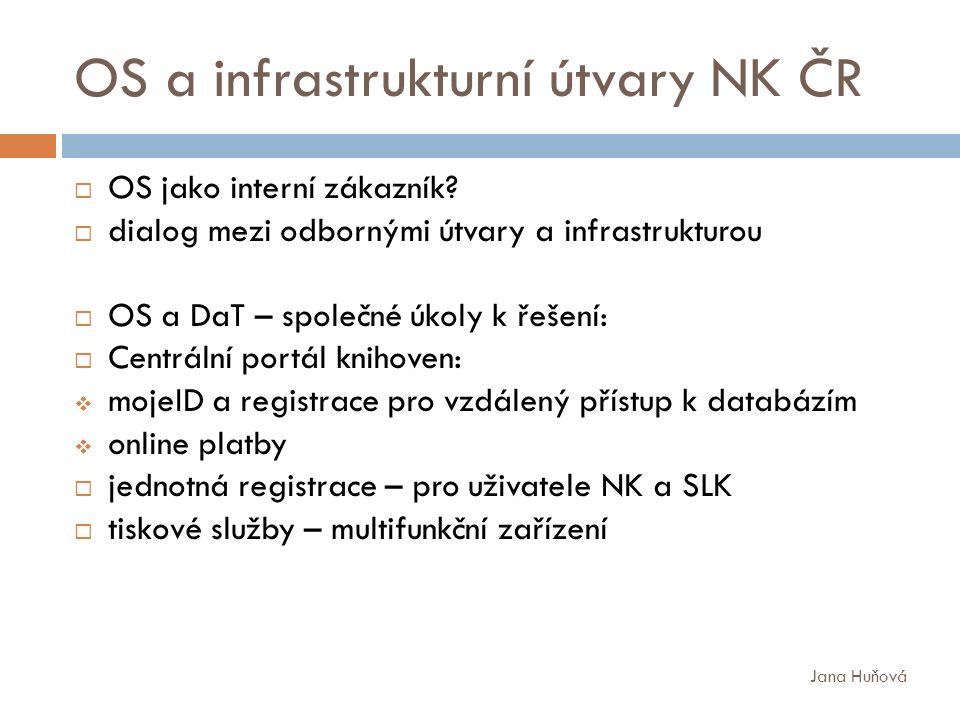 OS a infrastrukturní útvary NK ČR  OS jako interní zákazník.