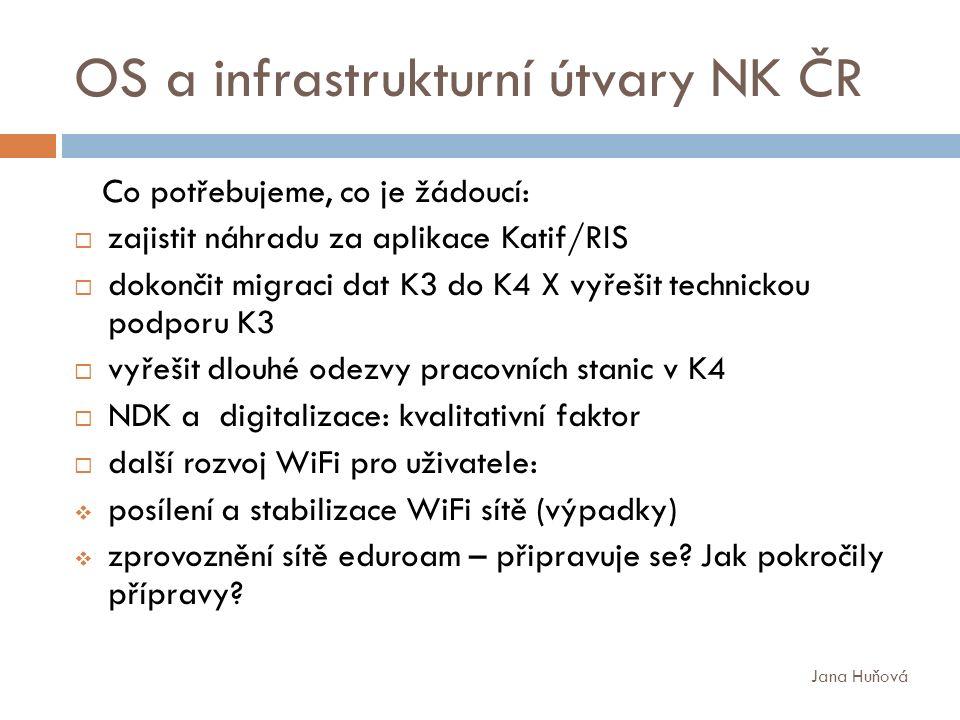 OS a infrastrukturní útvary NK ČR Co potřebujeme, co je žádoucí:  zajistit náhradu za aplikace Katif/RIS  dokončit migraci dat K3 do K4 X vyřešit technickou podporu K3  vyřešit dlouhé odezvy pracovních stanic v K4  NDK a digitalizace: kvalitativní faktor  další rozvoj WiFi pro uživatele:  posílení a stabilizace WiFi sítě (výpadky)  zprovoznění sítě eduroam – připravuje se.