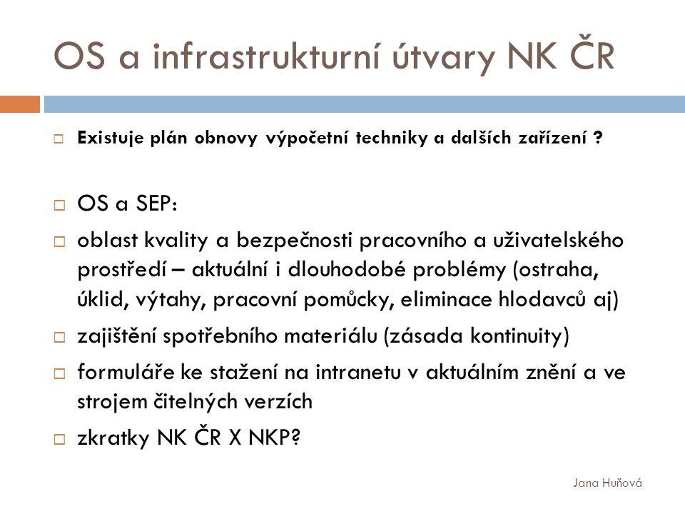 OS a infrastrukturní útvary NK ČR  Existuje plán obnovy výpočetní techniky a dalších zařízení .