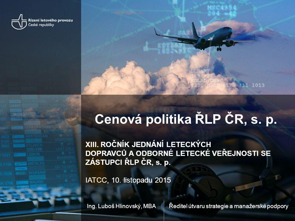 Ředitel útvaru strategie a manažerské podporyIng. Luboš Hlinovský, MBA Cenová politika ŘLP ČR, s.