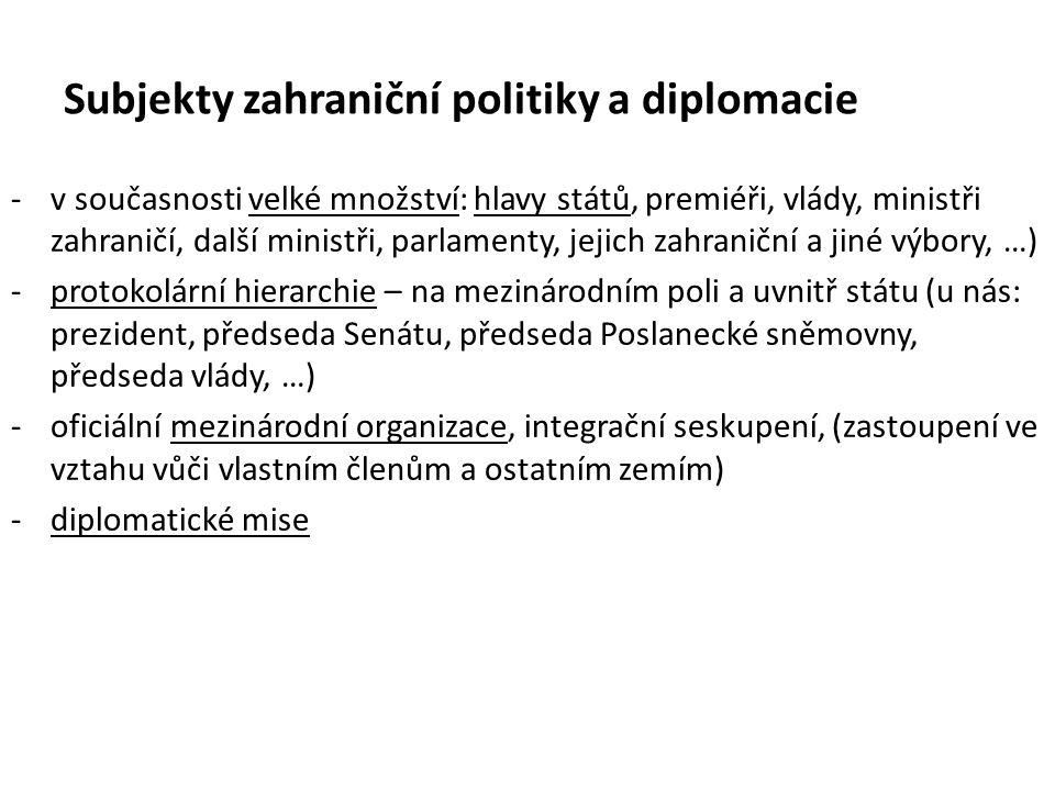 Subjekty zahraniční politiky a diplomacie -v současnosti velké množství: hlavy států, premiéři, vlády, ministři zahraničí, další ministři, parlamenty, jejich zahraniční a jiné výbory, …) -protokolární hierarchie – na mezinárodním poli a uvnitř státu (u nás: prezident, předseda Senátu, předseda Poslanecké sněmovny, předseda vlády, …) -oficiální mezinárodní organizace, integrační seskupení, (zastoupení ve vztahu vůči vlastním členům a ostatním zemím) -diplomatické mise