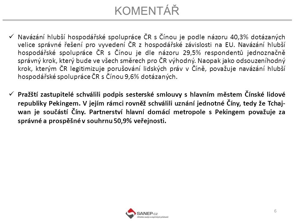 KOMENTÁŘ 6 Navázání hlubší hospodářské spolupráce ČR s Čínou je podle názoru 40,3% dotázaných velice správné řešení pro vyvedení ČR z hospodářské závislosti na EU.