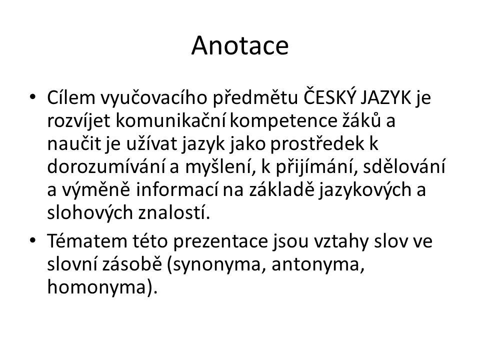 Slovo a jeho význam Synonyma, antonyma, homonyma