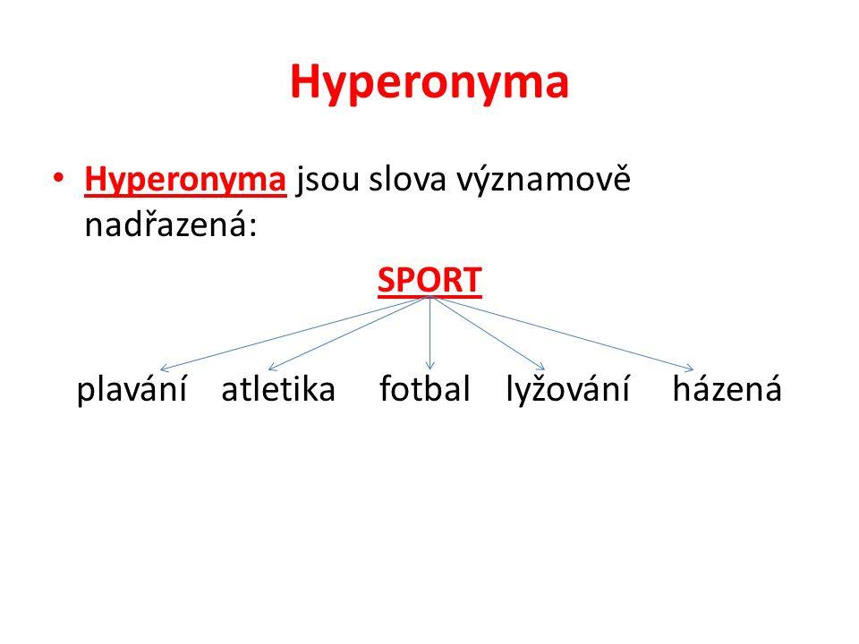 Hyperonyma Hyperonyma jsou slova významově nadřazená: SPORT plavání atletika fotbal lyžování házená