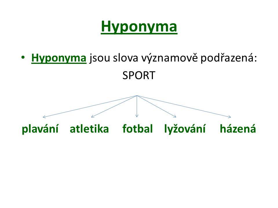Hyponyma Hyponyma jsou slova významově podřazená: SPORT plavání atletika fotbal lyžování házená