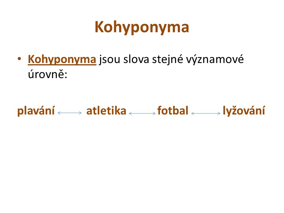 Kohyponyma Kohyponyma jsou slova stejné významové úrovně: plavání atletika fotbal lyžování