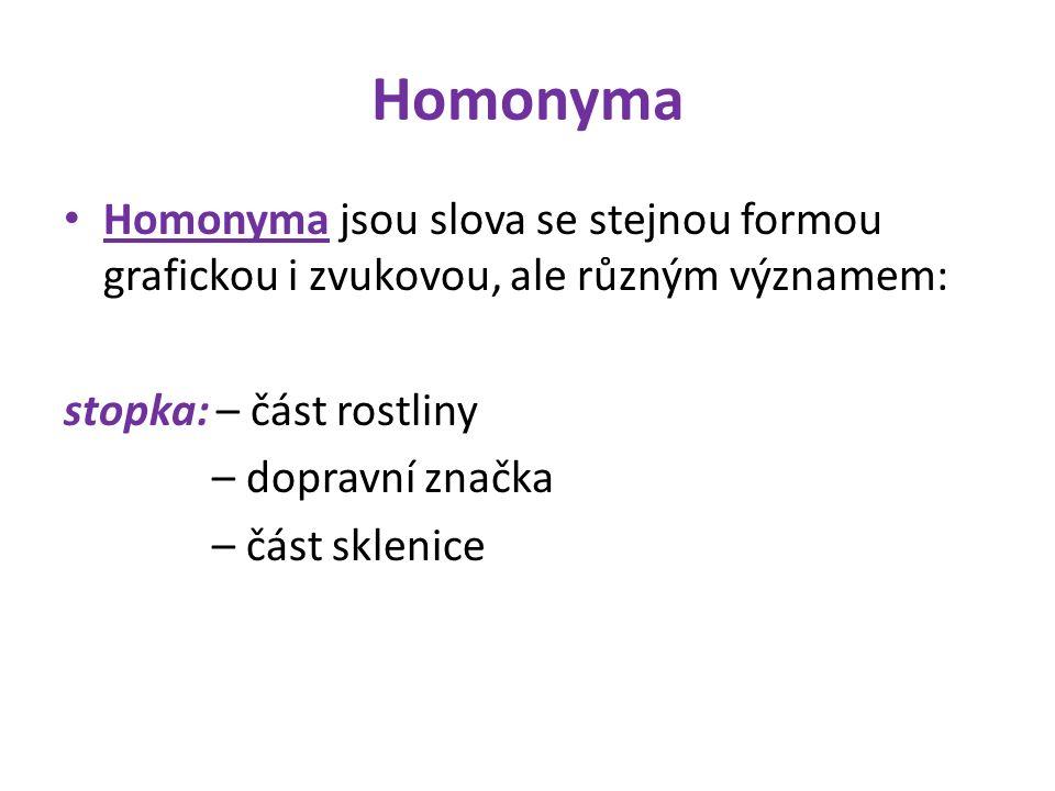 Homonyma Homonyma jsou slova se stejnou formou grafickou i zvukovou, ale různým významem: stopka: – část rostliny – dopravní značka – část sklenice