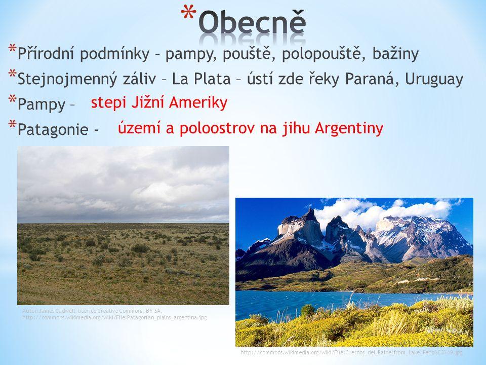 * Přírodní podmínky – pampy, pouště, polopouště, bažiny * Stejnojmenný záliv – La Plata – ústí zde řeky Paraná, Uruguay * Pampy – * Patagonie - stepi