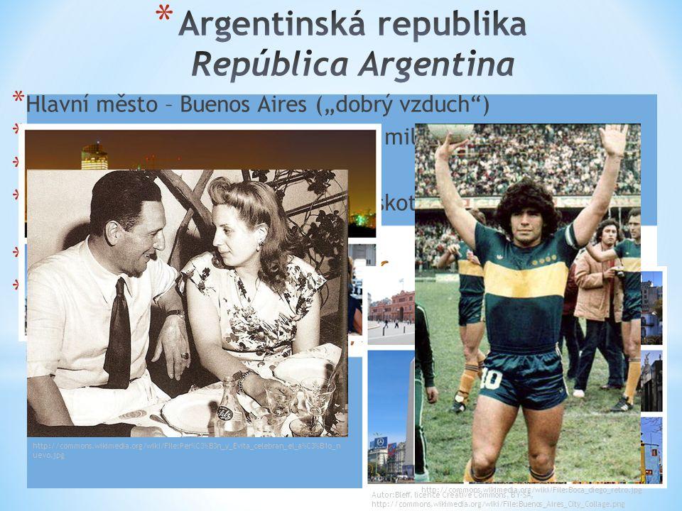 """* Hlavní město – Buenos Aires (""""dobrý vzduch"""") * 2. největší stát Jižní Ameriky – 2,8 mil. km 2 (8. na světě) * 94% obyvatel – Evropané * Významný zem"""