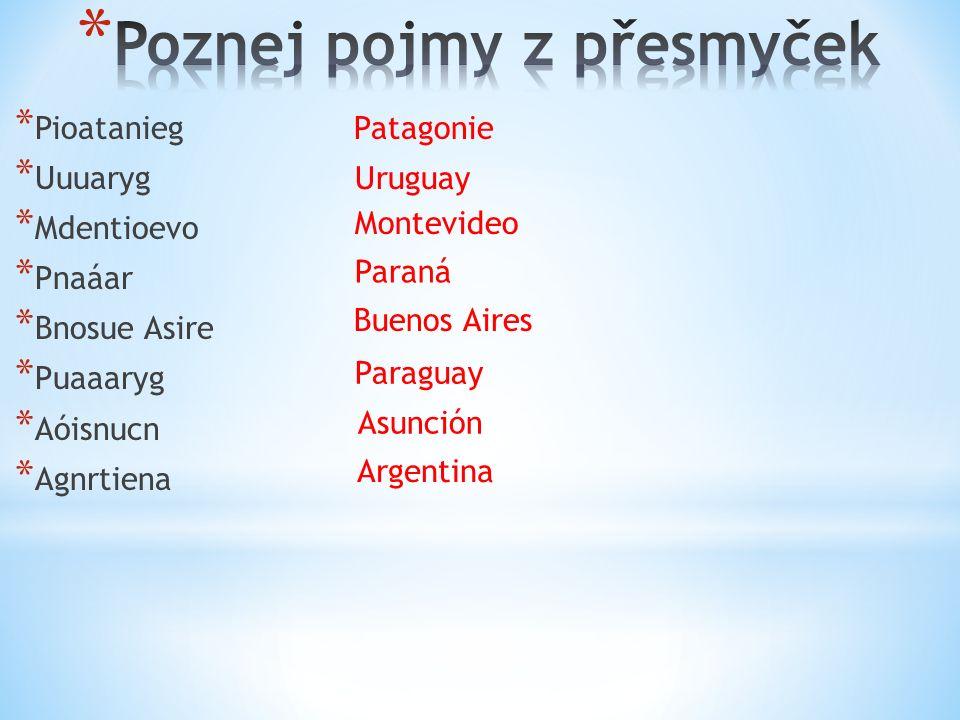 * Pioatanieg * Uuuaryg * Mdentioevo * Pnaáar * Bnosue Asire * Puaaaryg * Aóisnucn * Agnrtiena Patagonie Uruguay Argentina Paraná Buenos Aires Paraguay