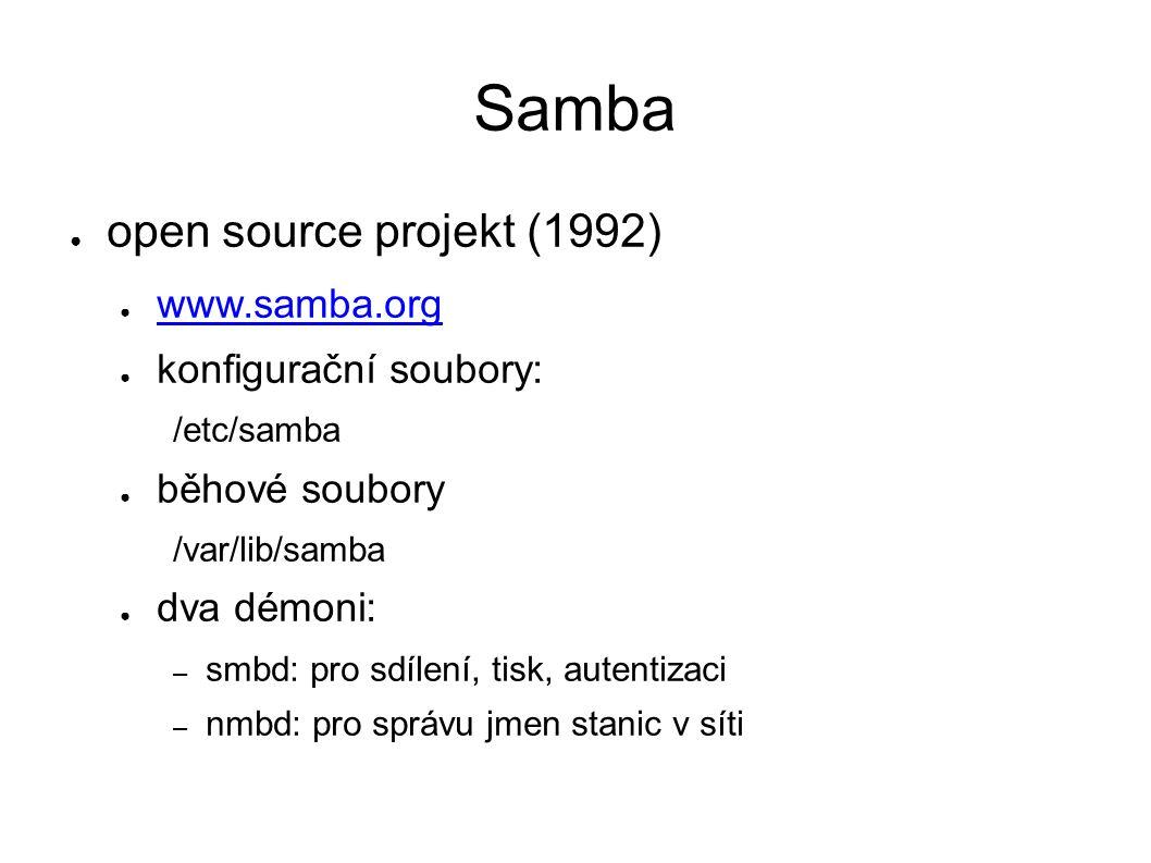 Samba ● open source projekt (1992) ● www.samba.org www.samba.org ● konfigurační soubory: /etc/samba ● běhové soubory /var/lib/samba ● dva démoni: – smbd: pro sdílení, tisk, autentizaci – nmbd: pro správu jmen stanic v síti