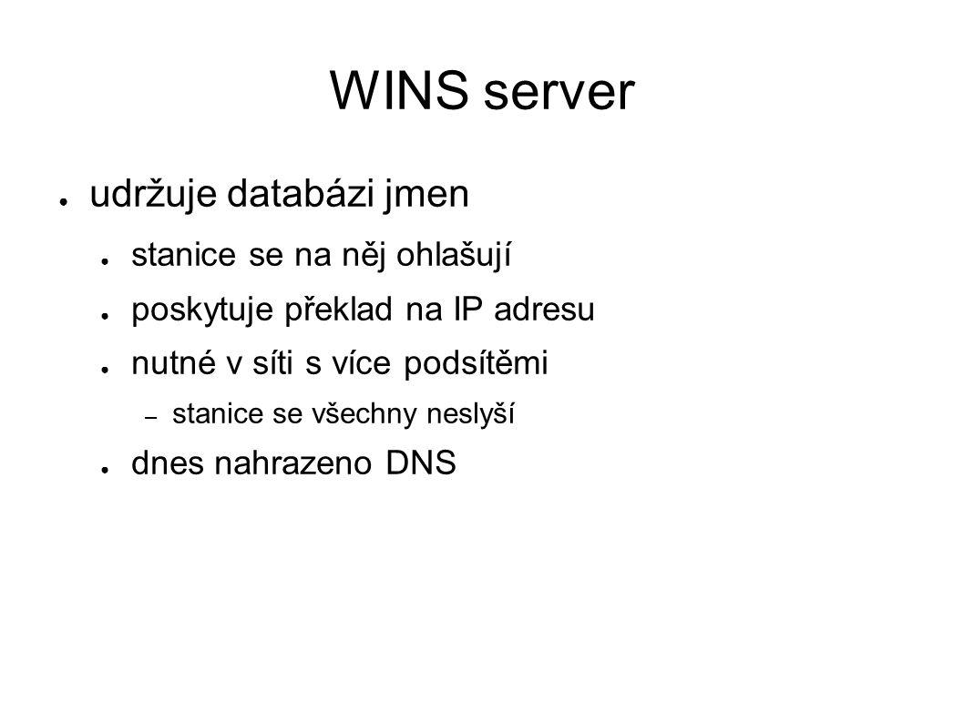 WINS server ● udržuje databázi jmen ● stanice se na něj ohlašují ● poskytuje překlad na IP adresu ● nutné v síti s více podsítěmi – stanice se všechny neslyší ● dnes nahrazeno DNS
