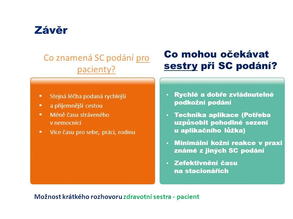 Co znamená SC podání pro pacienty. Co mohou očekávat sestry při SC podání.