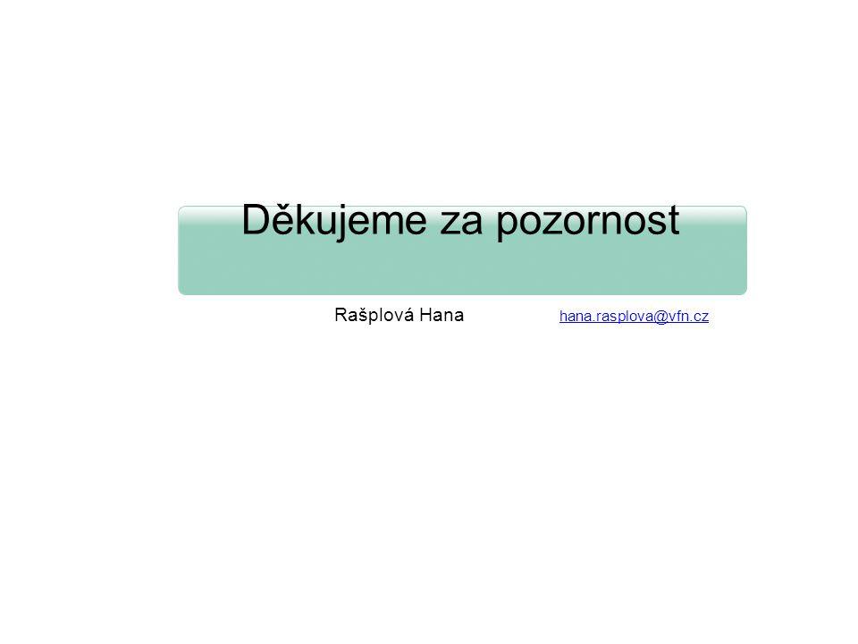 Děkujeme za pozornost Rašplová Hana hana.rasplova@vfn.czhana.rasplova@vfn.cz