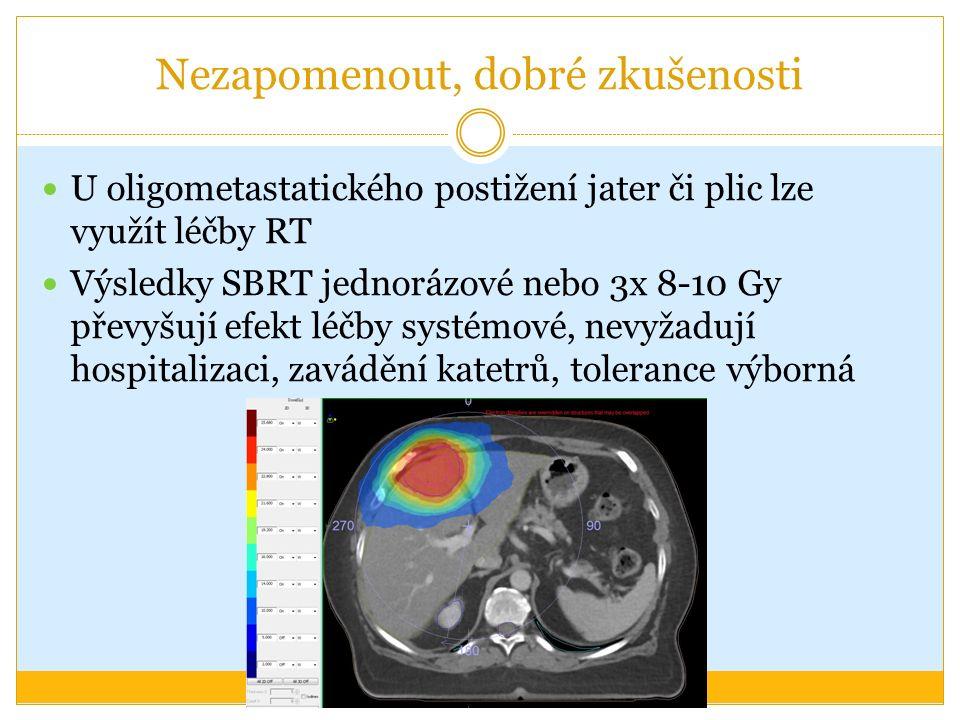Nezapomenout, dobré zkušenosti U oligometastatického postižení jater či plic lze využít léčby RT Výsledky SBRT jednorázové nebo 3x 8-10 Gy převyšují e