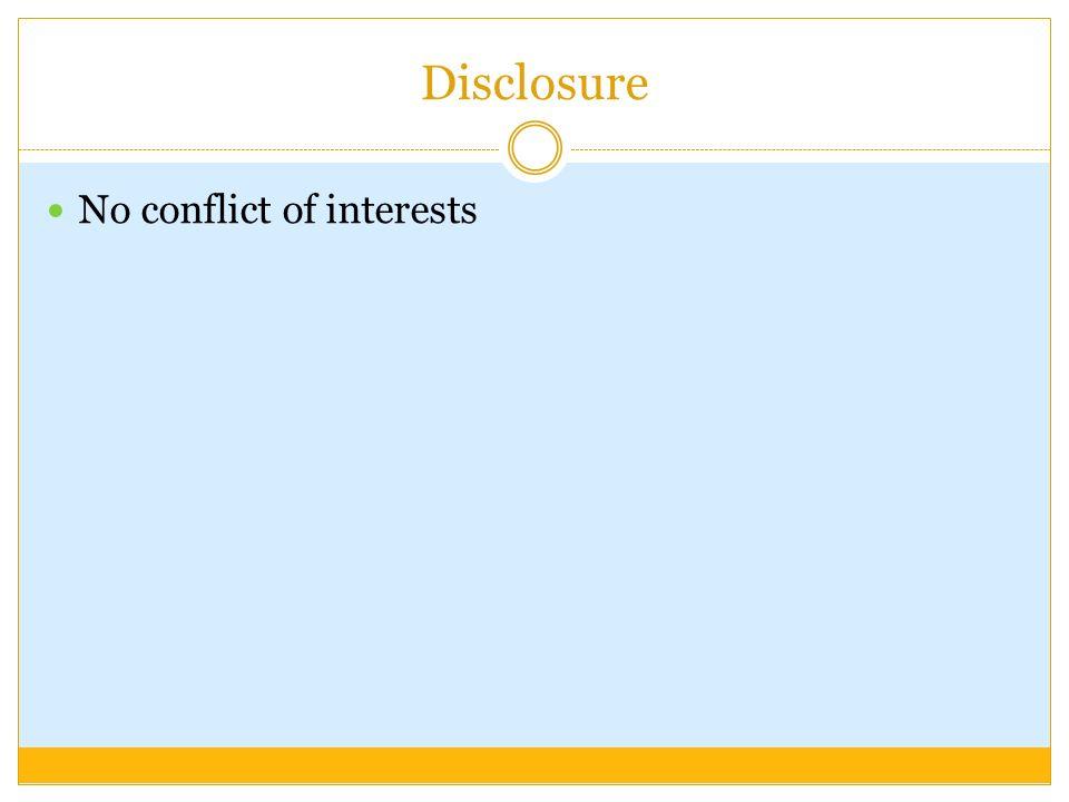 Disclosure No conflict of interests