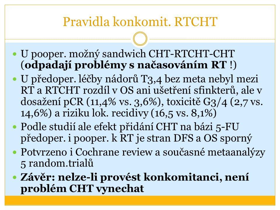 Pravidla konkomit. RTCHT U pooper. možný sandwich CHT-RTCHT-CHT (odpadají problémy s načasováním RT !) U předoper. léčby nádorů T3,4 bez meta nebyl me
