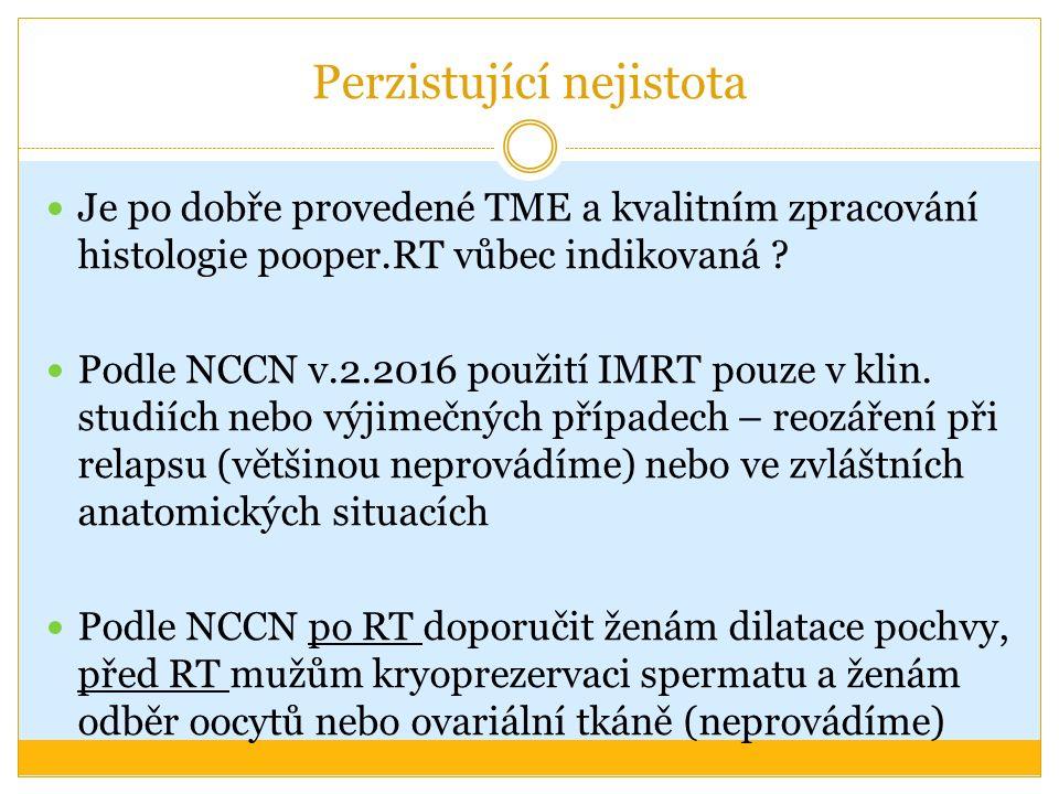 Perzistující nejistota Je po dobře provedené TME a kvalitním zpracování histologie pooper.RT vůbec indikovaná ? Podle NCCN v.2.2016 použití IMRT pouze