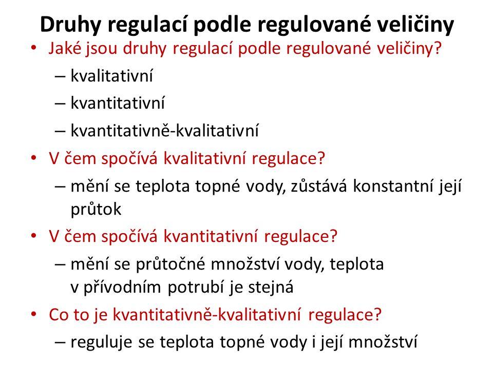 Druhy regulací podle regulované veličiny Jaké jsou druhy regulací podle regulované veličiny.