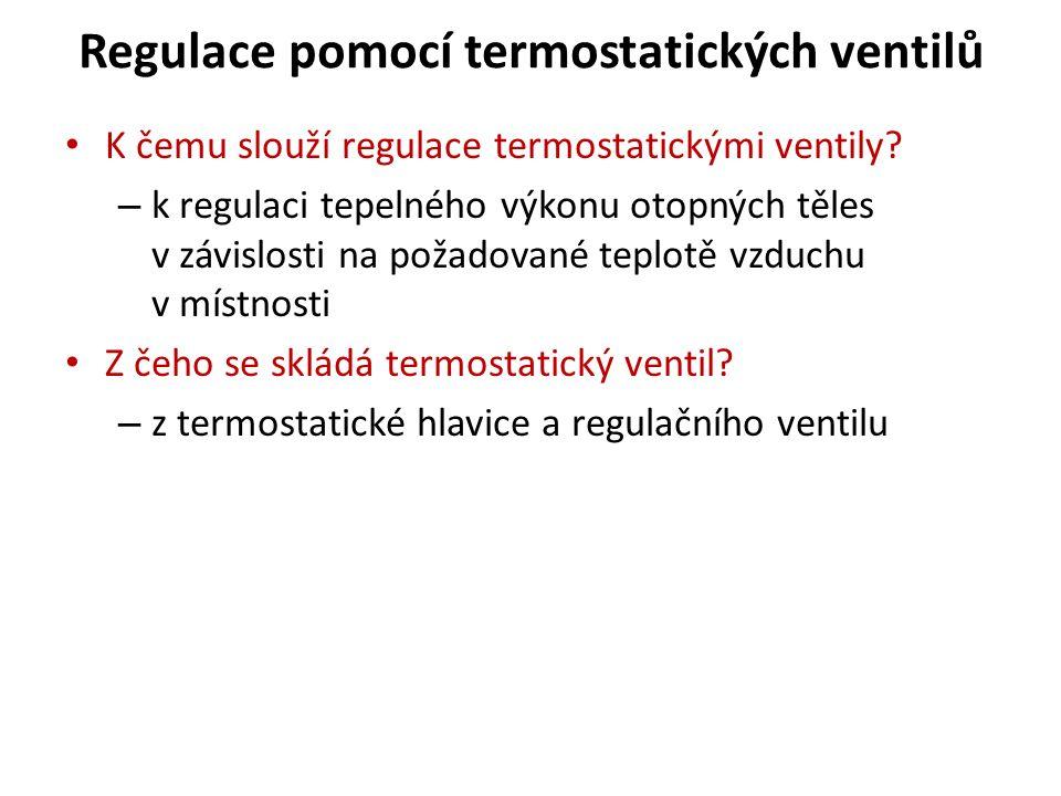 Regulace pomocí termostatických ventilů K čemu slouží regulace termostatickými ventily.