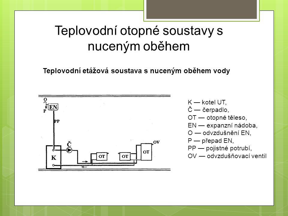 Teplovodní otopné soustavy s nuceným oběhem Teplovodní etážová soustava s nuceným oběhem vody K — kotel UT, Č — čerpadlo, OT — otopné těleso, EN — expanzní nádoba, O — odvzdušnění EN, P — přepad EN, PP — pojistné potrubí, OV — odvzdušňovací ventil