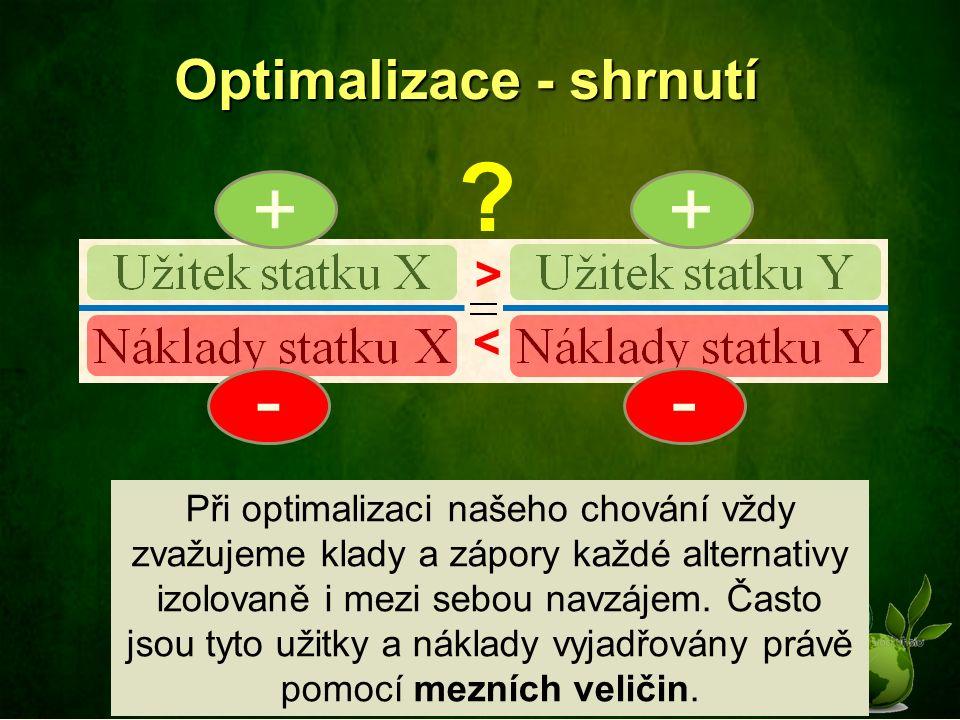Optimalizace - shrnutí < > + - + - Při optimalizaci našeho chování vždy zvažujeme klady a zápory každé alternativy izolovaně i mezi sebou navzájem.