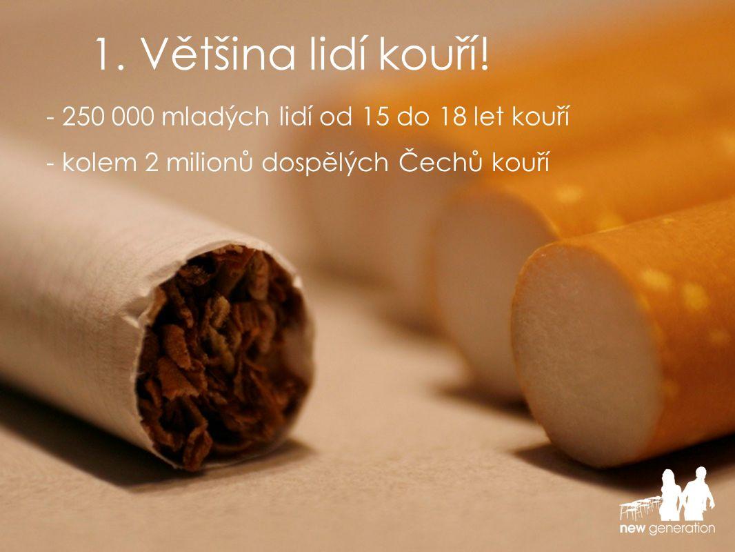 - 250 000 mladých lidí od 15 do 18 let kouří - kolem 2 milionů dospělých Čechů kouří...to znamená, že většina NEKOUŘÍ.