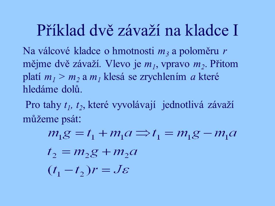 Příklad dvě závaží na kladce I Na válcové kladce o hmotnosti m 3 a poloměru r mějme dvě závaží.